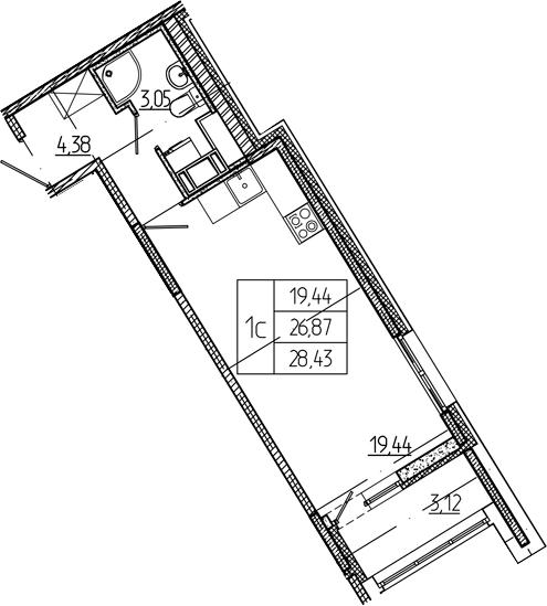 Студия, 26.87 м²– 2
