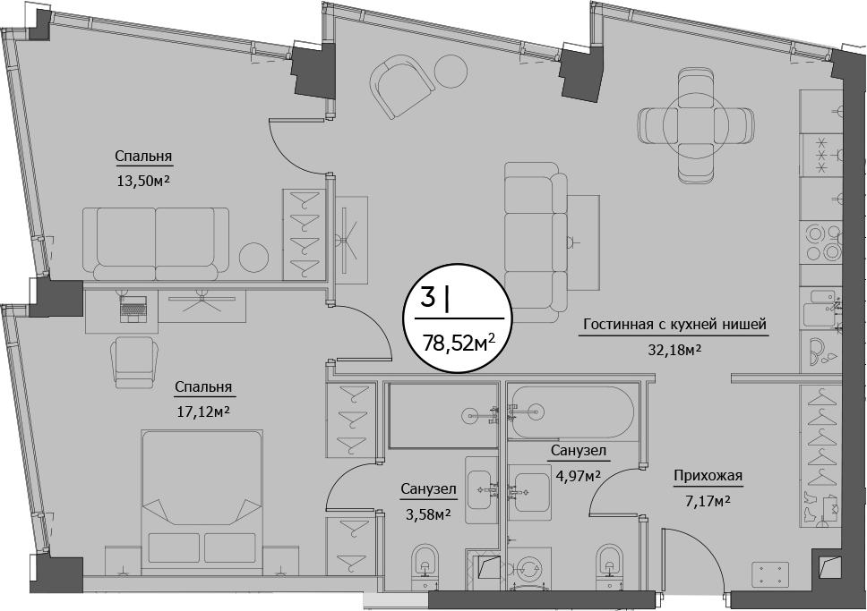 3Е-комнатная, 78.52 м²– 2