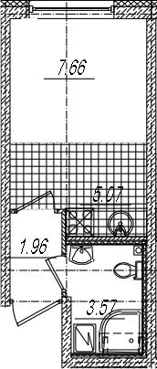 Студия, 17.74 м²