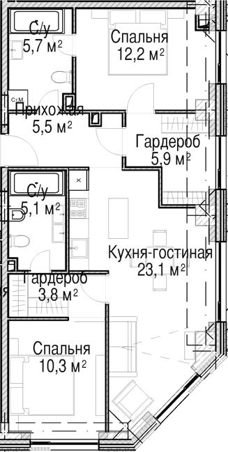 3Е-к.кв, 71.6 м²