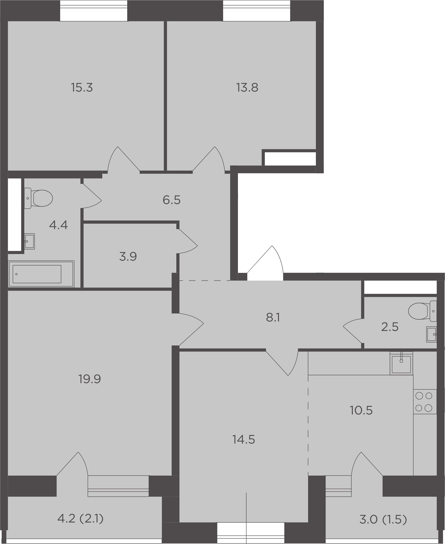 4Е-комнатная, 103 м²– 2