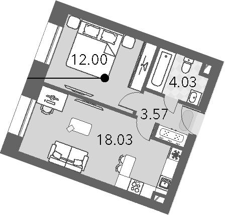 2Е-к.кв, 37.63 м², от 5 этажа