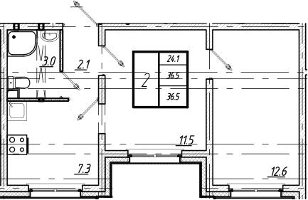 2-к.кв, 36.5 м²
