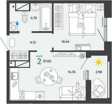 1-комнатная, 37.03 м²– 2