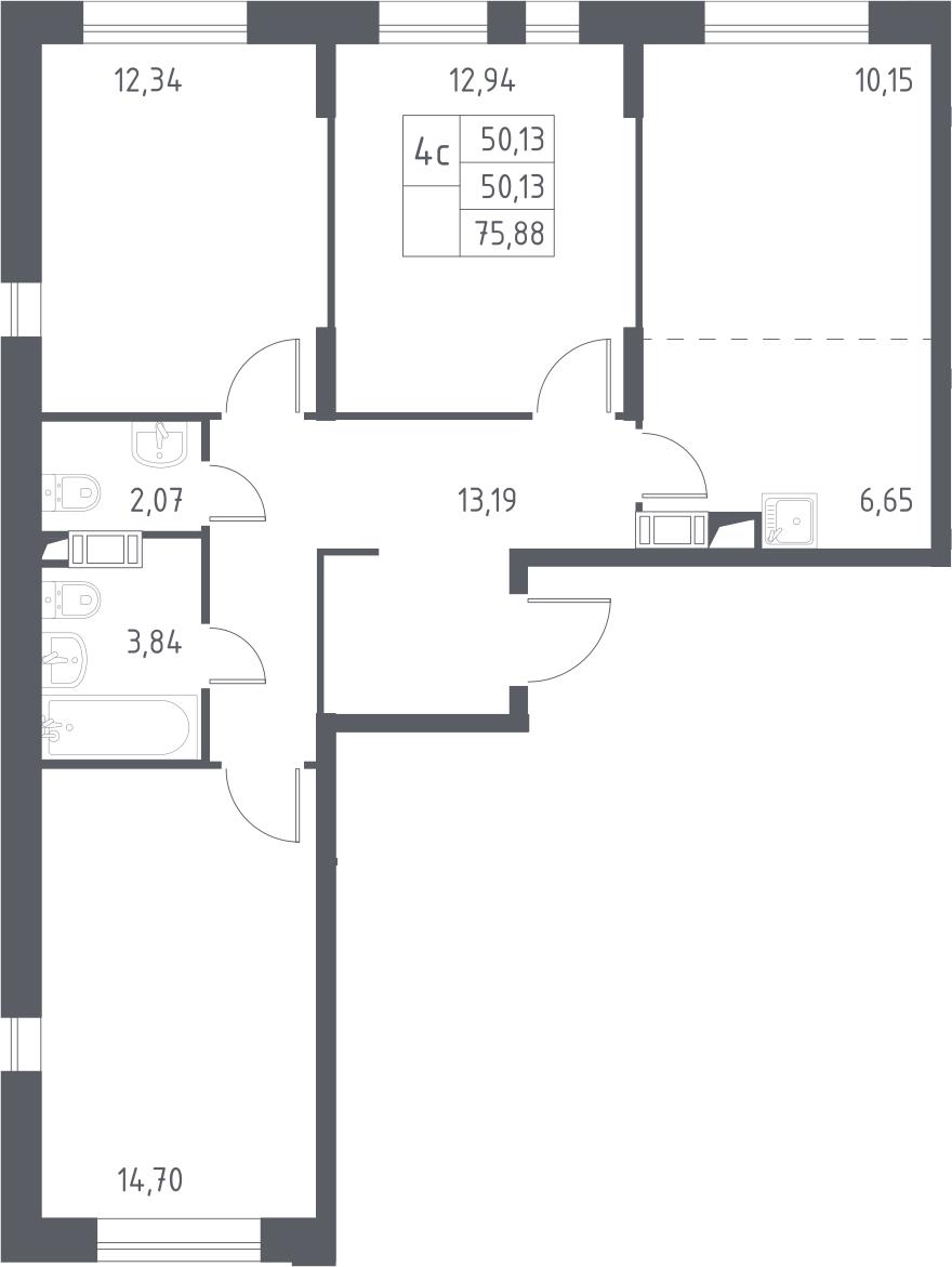 4Е-комнатная, 75.88 м²– 2