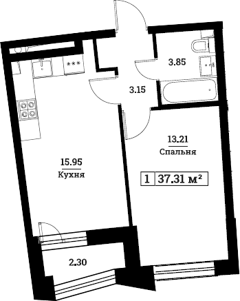 2Е-к.кв, 37.31 м², 2 этаж