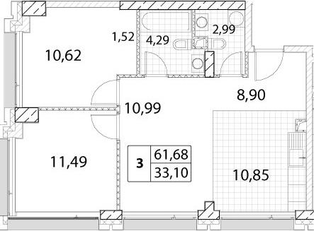 3-к.кв (евро), 61.68 м²