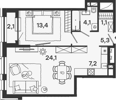 2Е-комнатная, 56.3 м²– 2