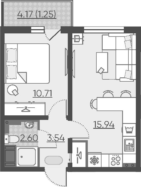 2Е-комнатная, 34.04 м²– 2