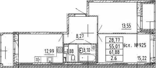 2-к.кв, 55.01 м²