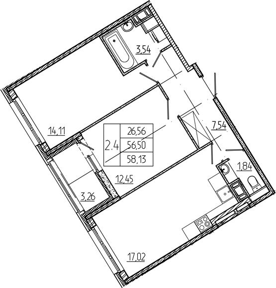 3Е-к.кв, 56.5 м², 2 этаж