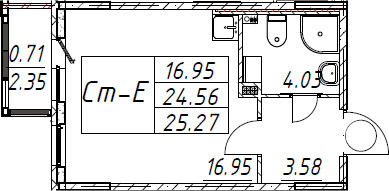 Студия, 25.27 м²– 2