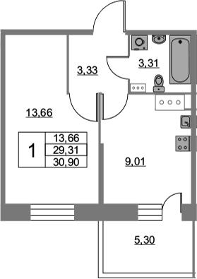 1-к.кв, 30.9 м², от 3 этажа