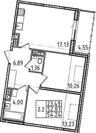 3Е-к.кв, 52.87 м²