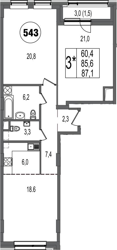 3-к.кв (евро), 88.6 м²