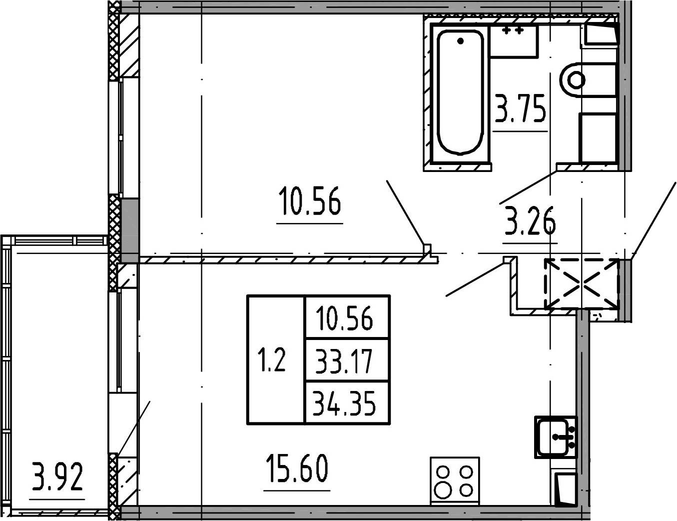 2Е-к.кв, 33.17 м²