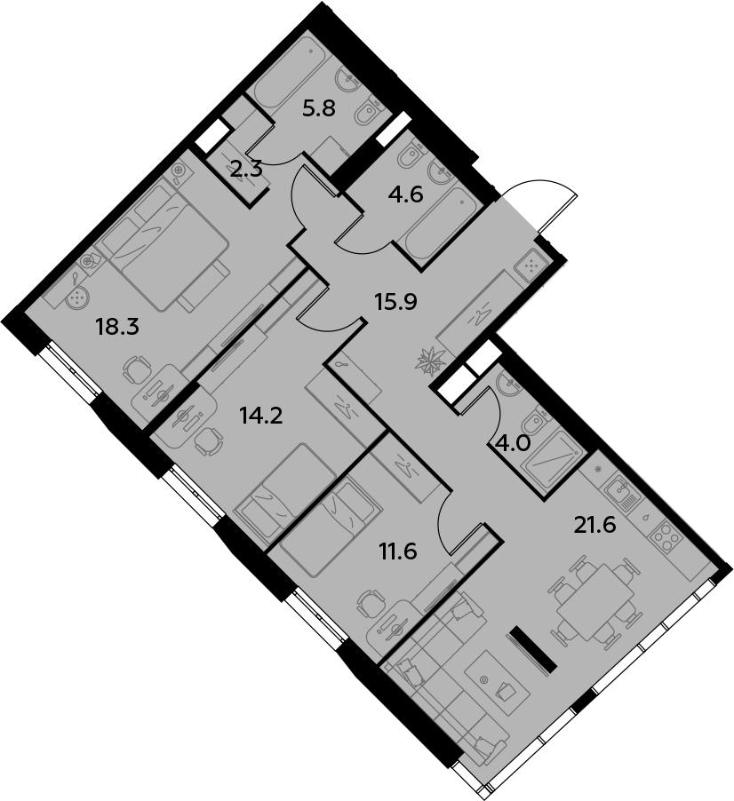 4Е-комнатная, 98.3 м²– 2