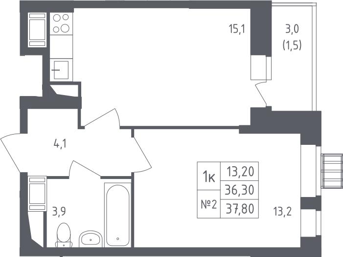 1-к.кв, 37.8 м², 6 этаж