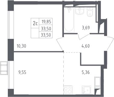 2Е-к.кв, 33.5 м²