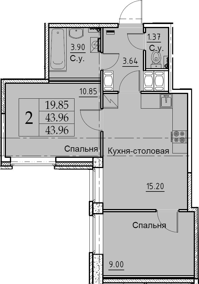 3Е-комнатная, 43.96 м²– 2