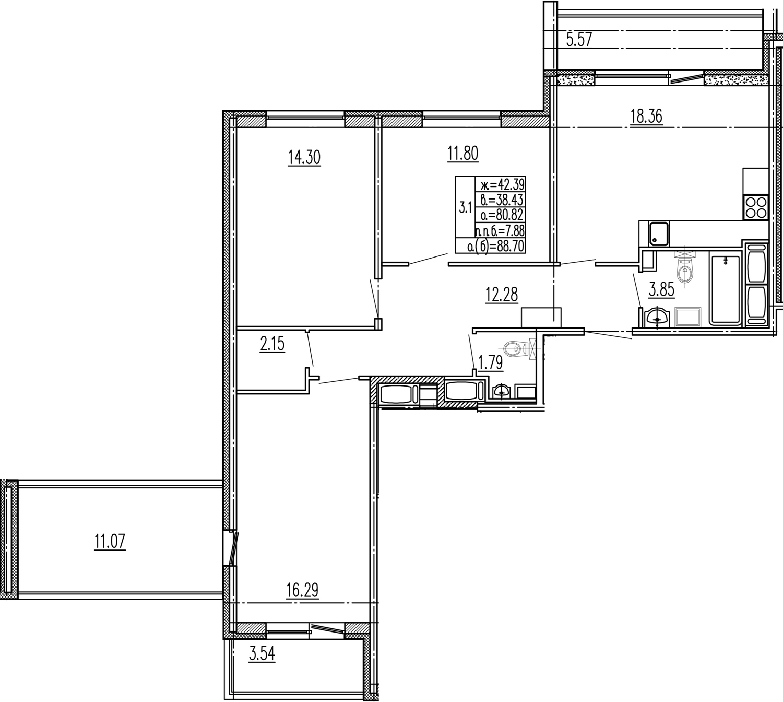 4Е-к.кв, 80.82 м²