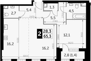 2-комнатная, 65.3 м²– 2