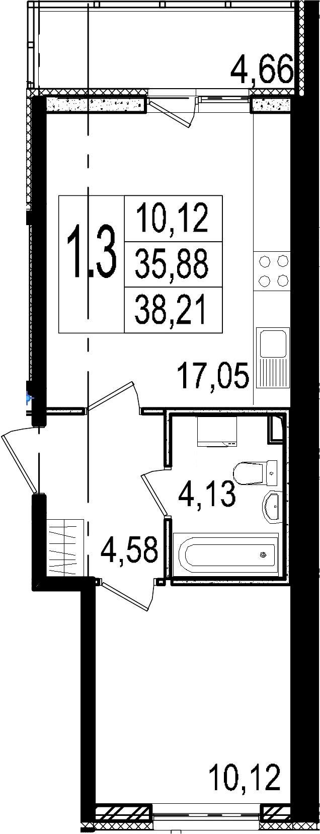 2Е-комнатная, 35.88 м²– 2