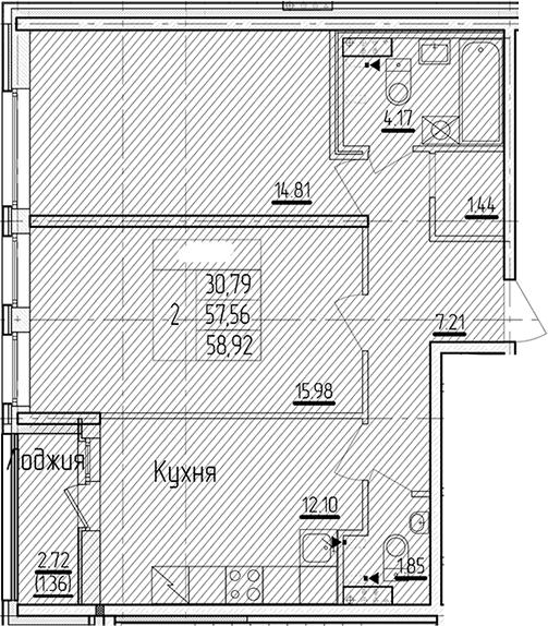 2-к.кв, 58.92 м²