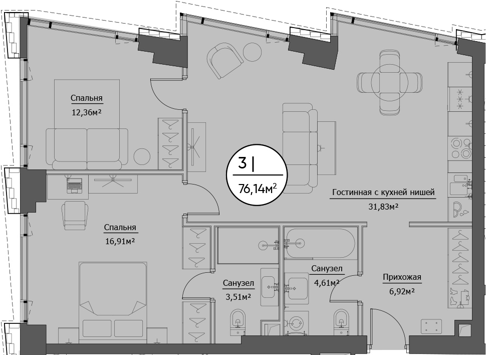 3Е-к.кв, 76.14 м²