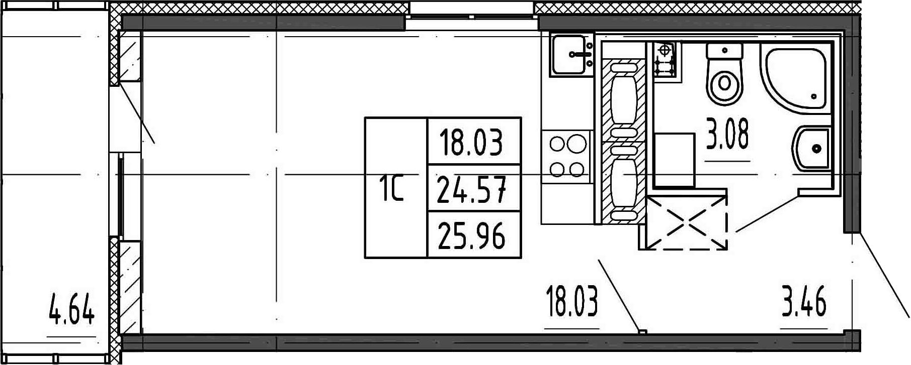 Студия, 24.57 м², 15 этаж