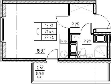Студия, 21.46 м²