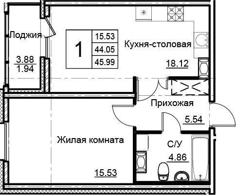 2Е-к.кв, 45.99 м², 11 этаж
