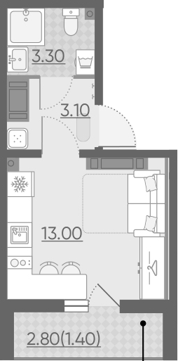 Студия, 20.9 м²