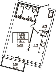 1-комнатная, 32.03 м²– 2