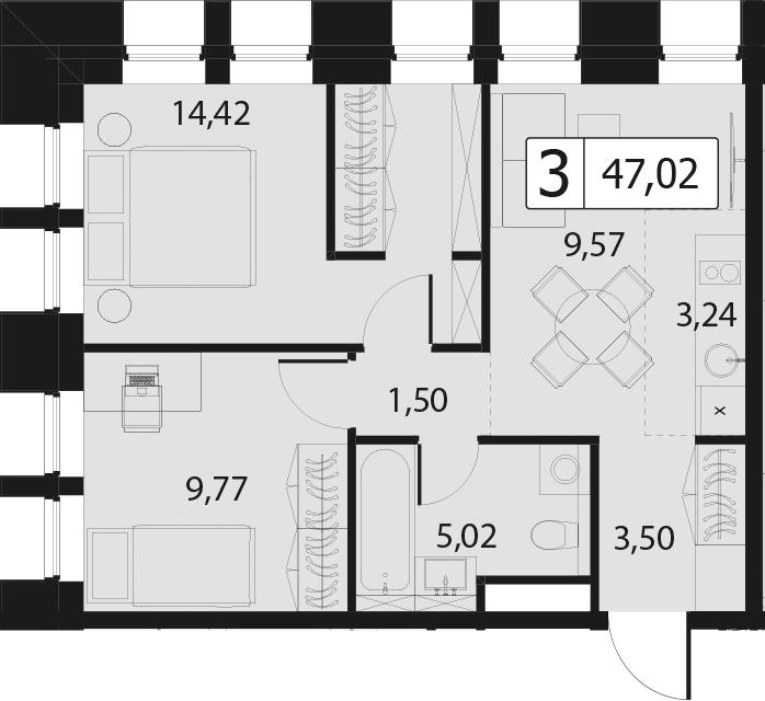 3Е-комнатная, 47.02 м²– 2
