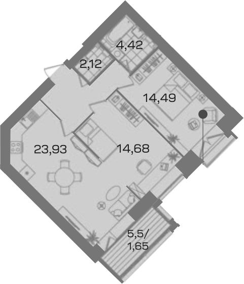 2-к.кв, 68.55 м²