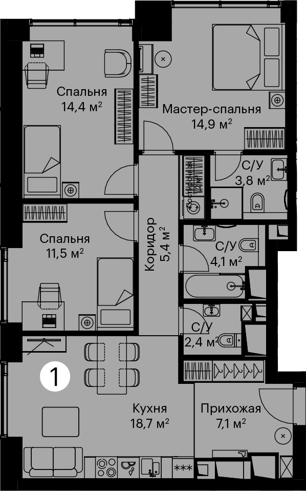 4Е-комнатная, 83.5 м²– 2