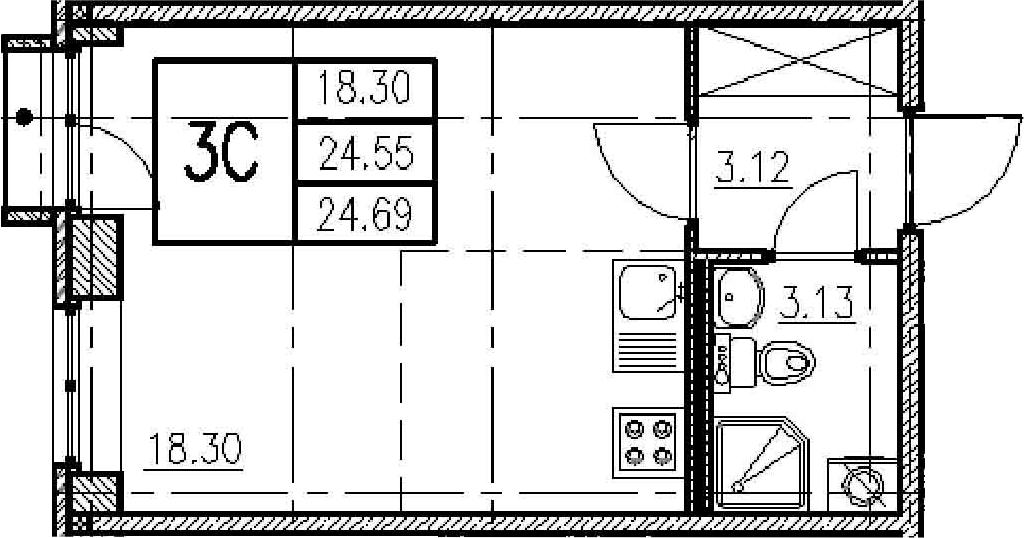 Студия, 25.01 м²