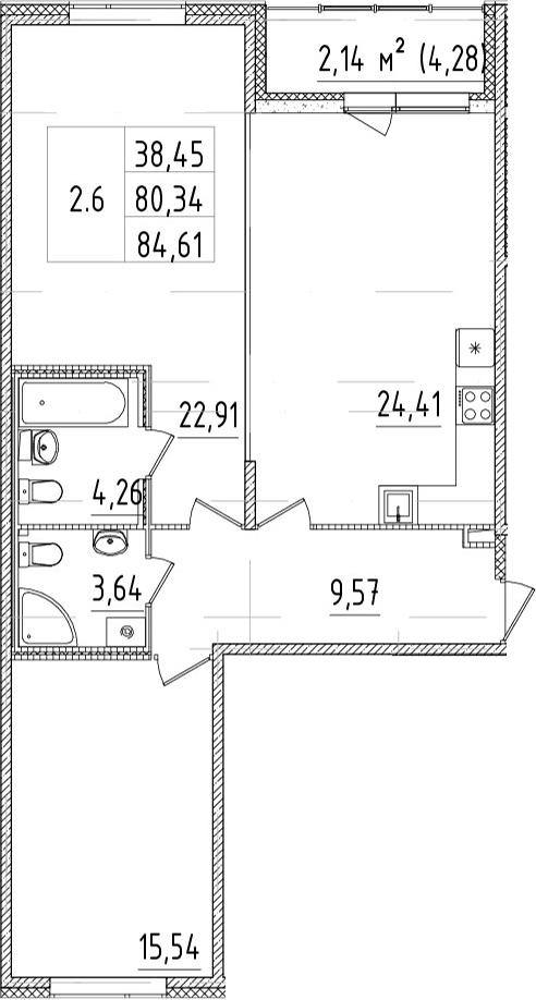3Е-комнатная, 80.33 м²– 2