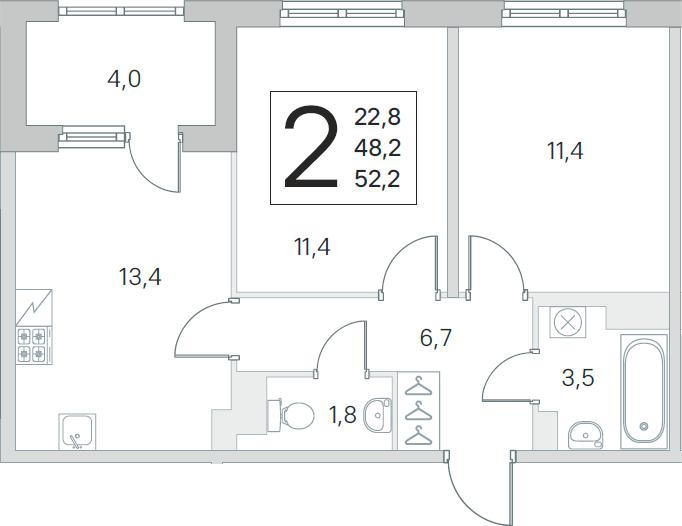 3Е-к.кв, 48.2 м², от 3 этажа