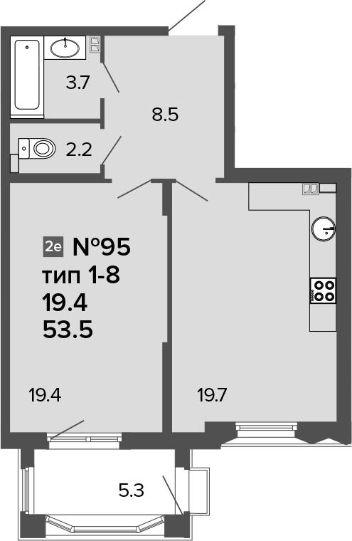 2-к.кв (евро), 58.8 м²