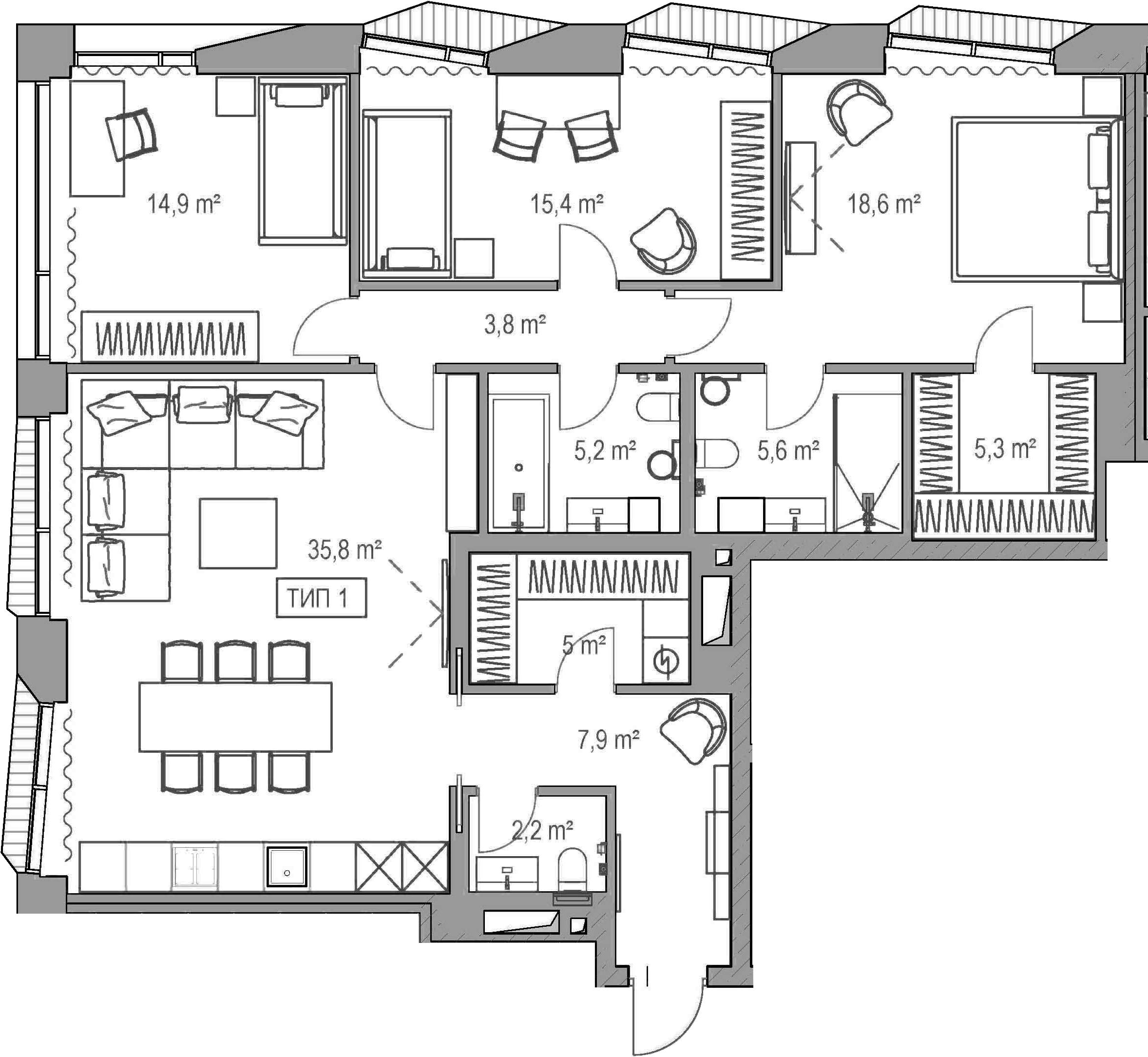 4Е-комнатная, 119.2 м²– 2