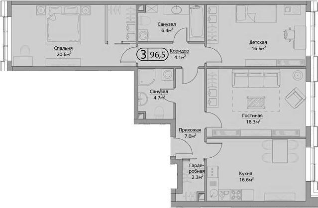 4Е-комнатная, 96.5 м²– 2