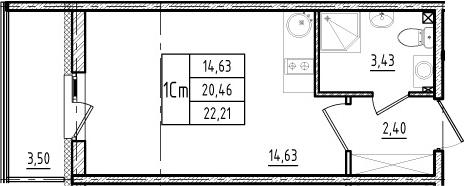 Студия, 23.96 м²