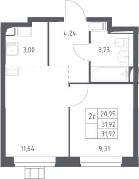 2Е-комнатная, 31.92 м²– 2