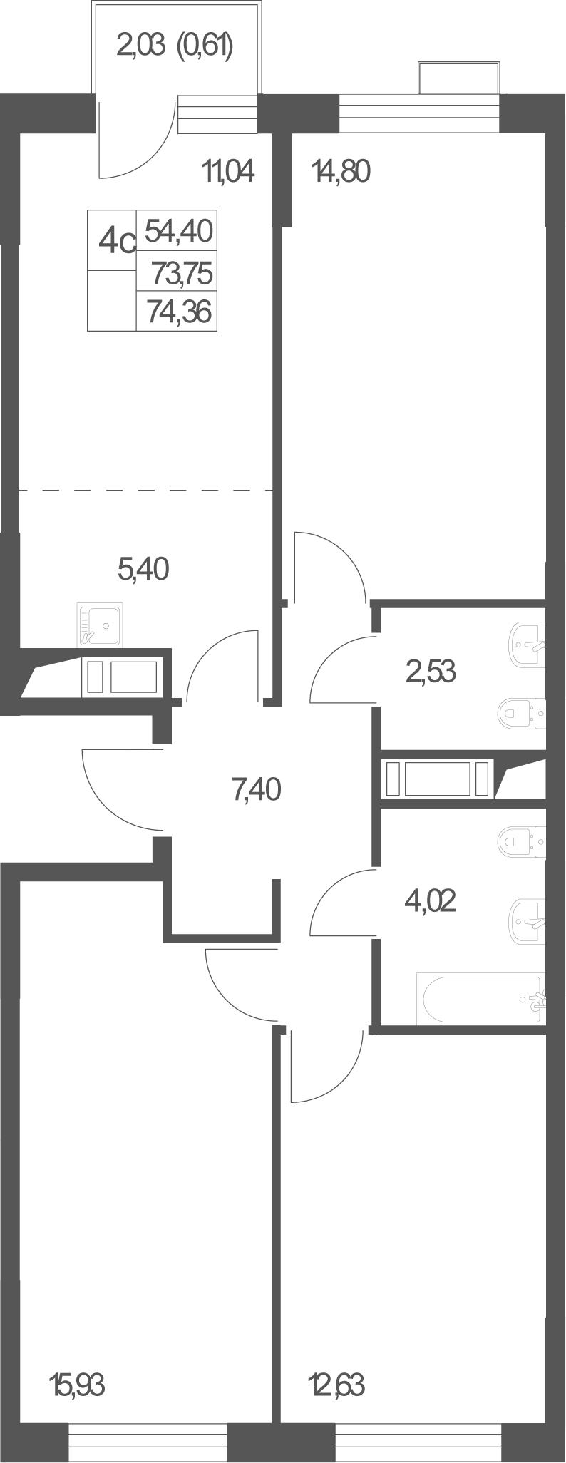 4Е-комнатная, 74.36 м²– 2