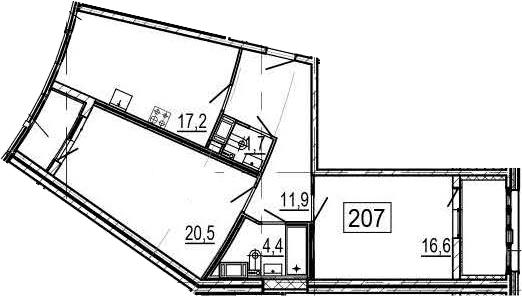 3Е-к.кв, 76.3 м², 6 этаж