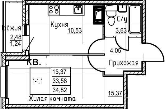 1-к.кв, 34.82 м²