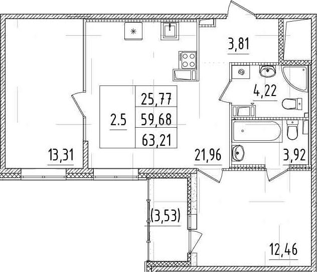 3Е-комнатная, 59.68 м²– 2