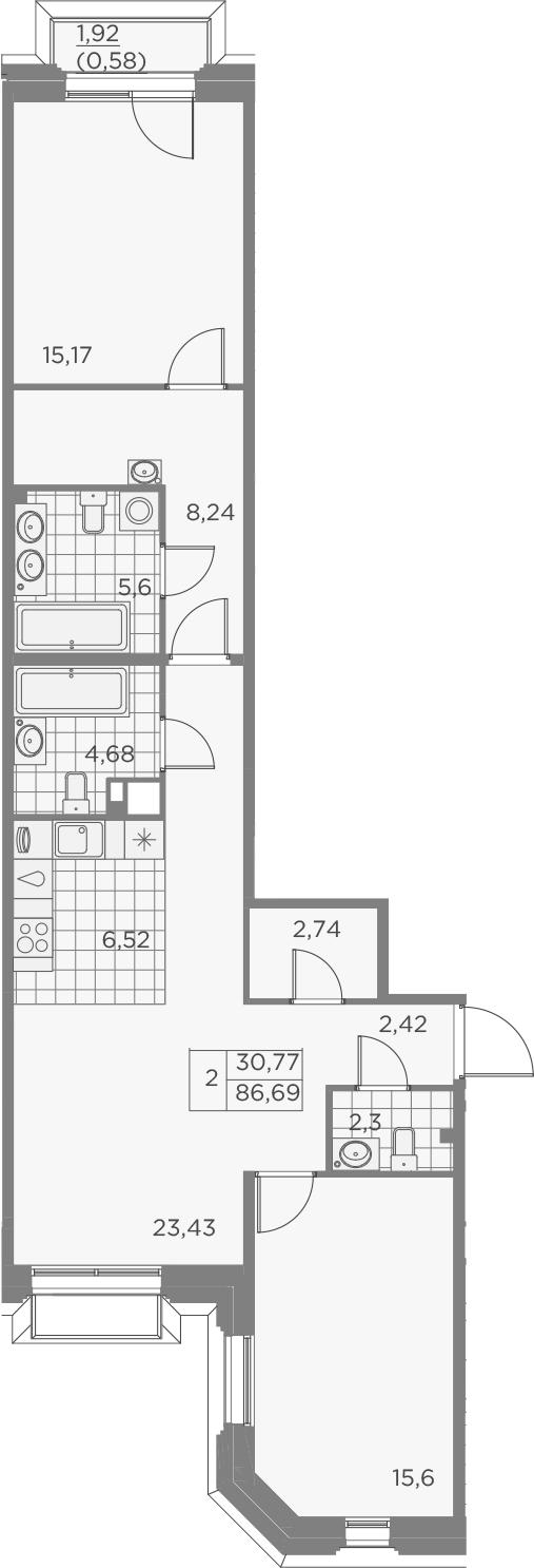 3Е-к.кв, 87.28 м², 3 этаж
